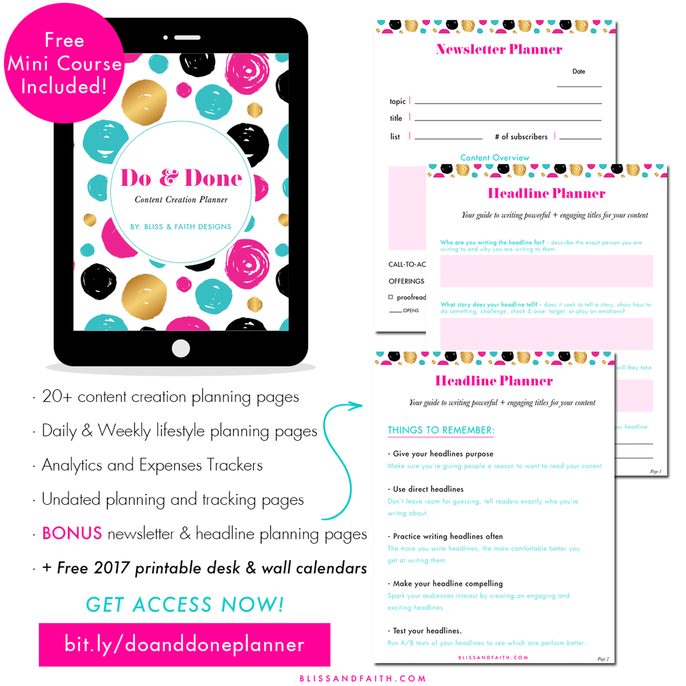 Do and Done Content Creation Planner | BlissandFaith.com